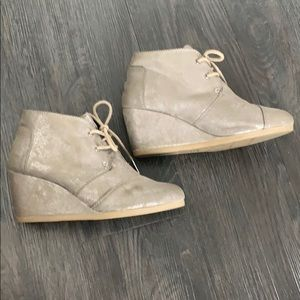 TOMS Metallic Wedge Booties